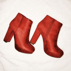 Pure Red Suede Booties